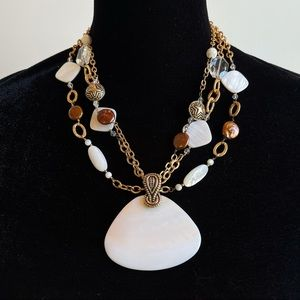 Studio BARSE Statement Necklace Abalone and Pearl